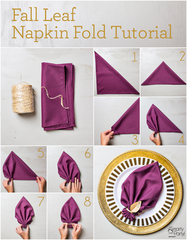 Fall Leaf Napkin Fold Tutorial | SmartyHadAParty.com