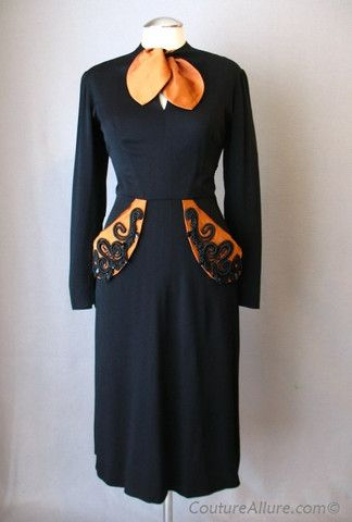 Vintage 40s Dress Black Elaborate Beading Medium bust 38 at Couture Allure Vintage Clothing