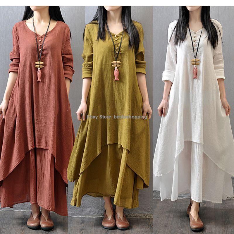 Clothing · Women Casual Cotton Linen Long Sleeve A-line Shirt Loose V-neck  ...