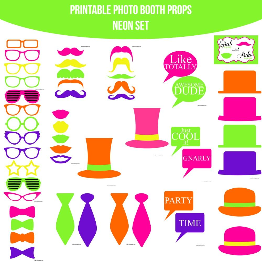 Instant Download Neon Printable Photo Booth Prop Set for $4.99 ...