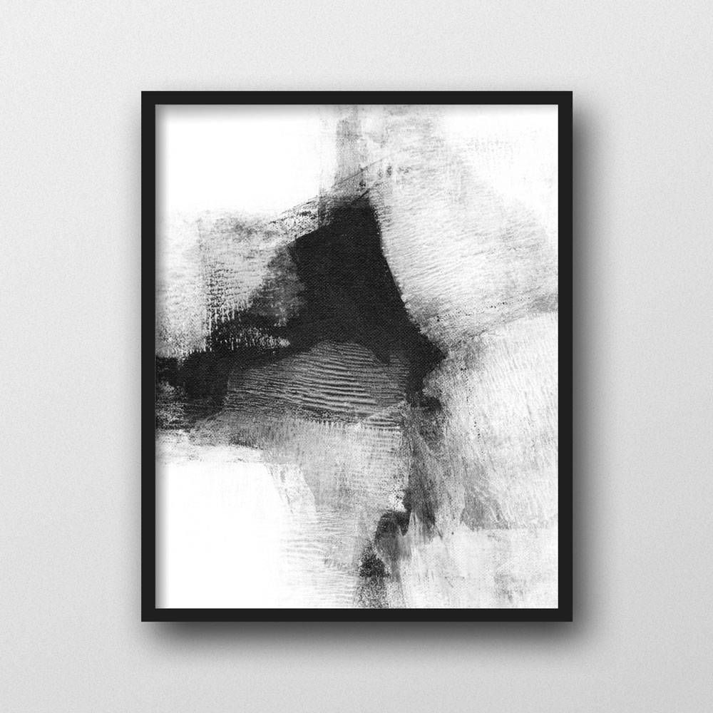 Black and White Abstract Painting Print, Scandinavian ...