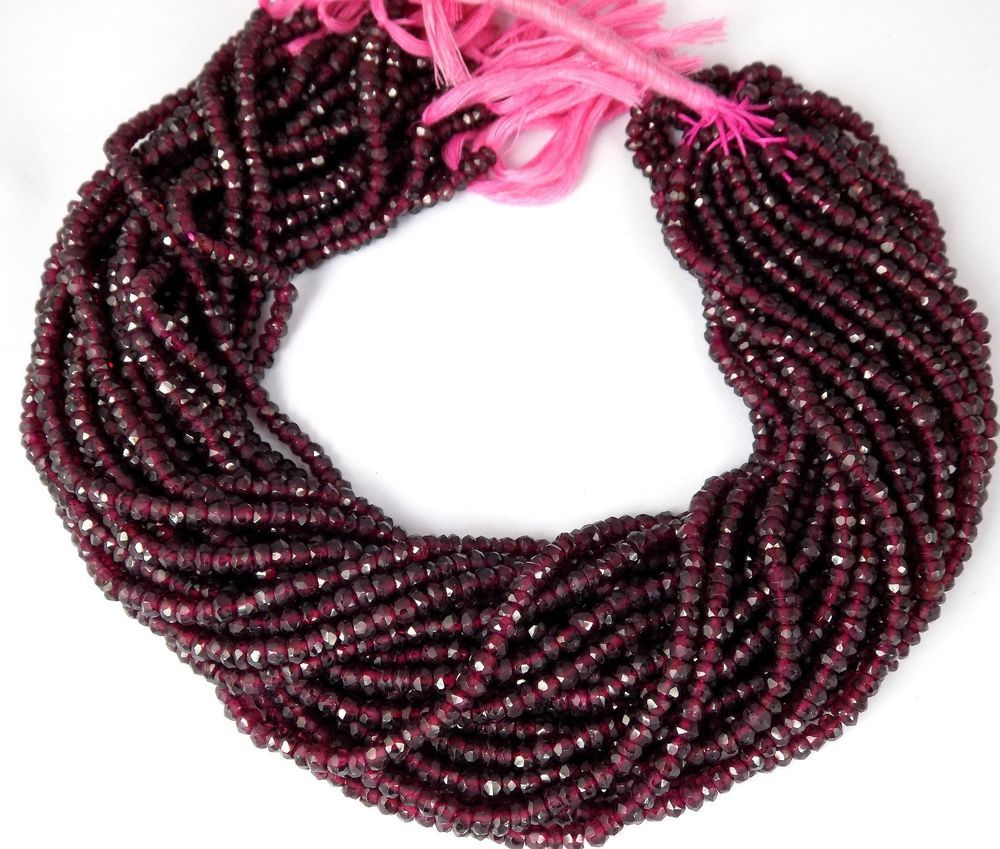 """AAA 5 Strand Natural Garnet Faceted Gemstone Rondelle Beads 4mm 13"""" Long Strands #Faceted"""