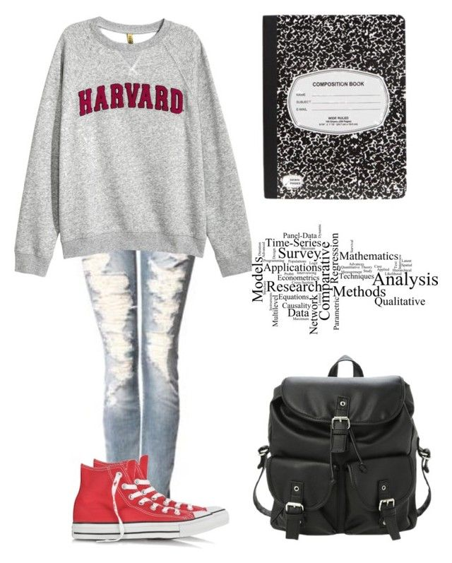 """""""Untitled #430"""" by ashlyn96 ❤ liked on Polyvore featuring Bootlegger, H&M and Converse"""
