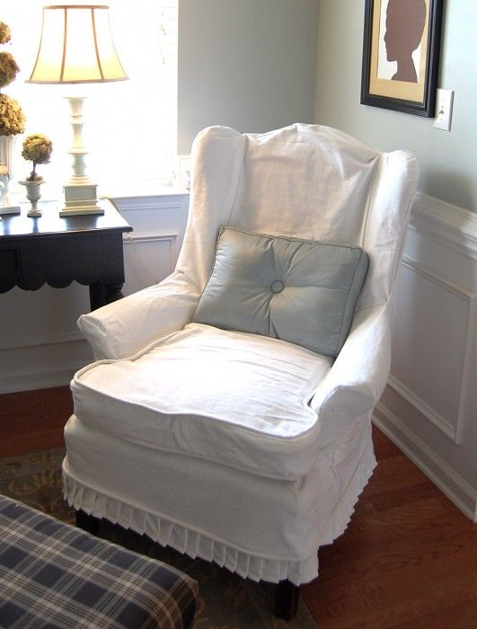 Want To Make A Slipcover For An Old Chair/otto I Have . Love This  Slipcovered Wingback Chair, So Cute. Slipcover Tutorial Too.