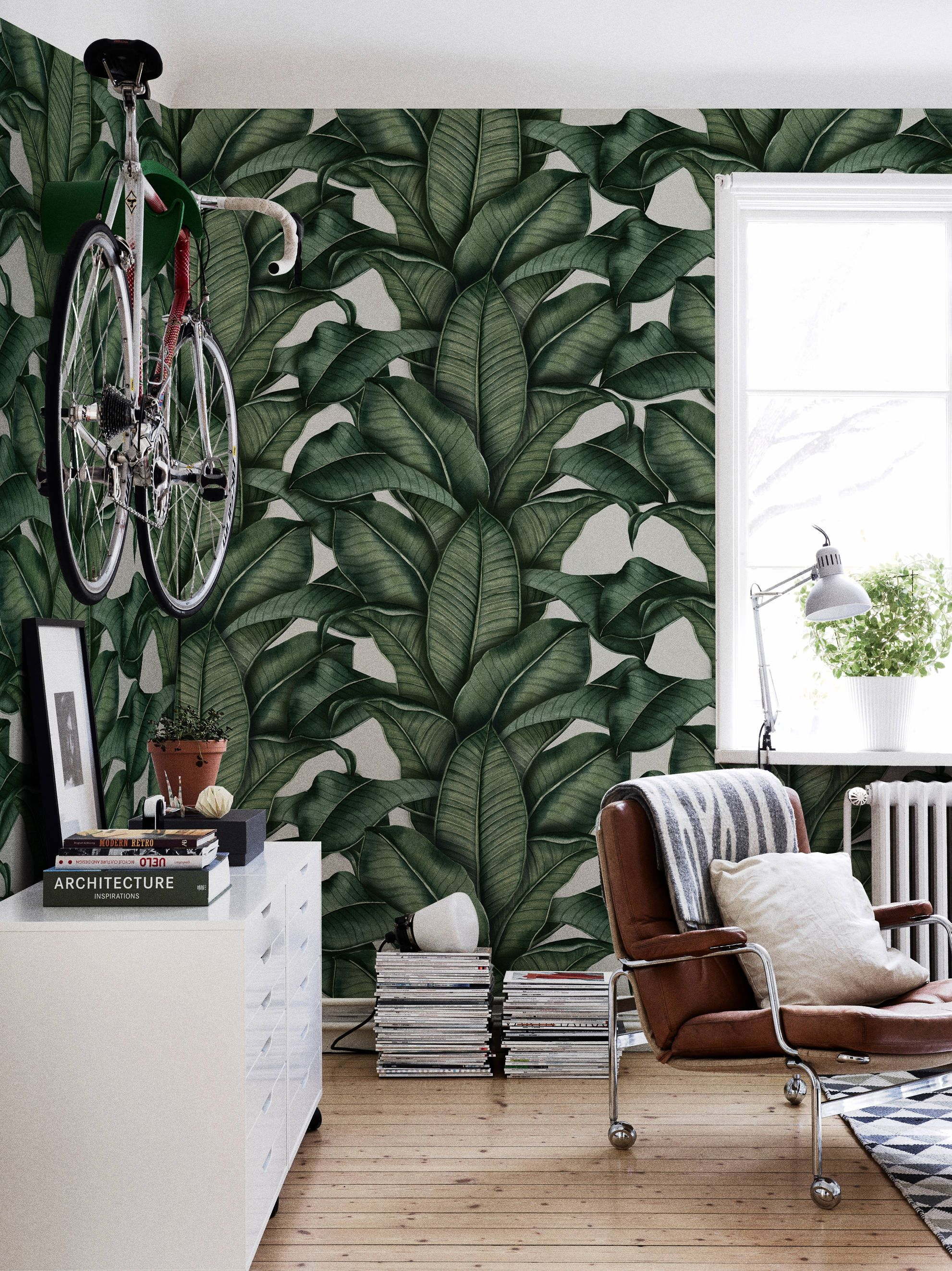 Trust Banana Leaf Removable Wallpaper It Can Create A Totally New Interior In Your Home In Just One Peel Stick Mo Banana Leaf Wallpaper Wall Murals Wallpaper