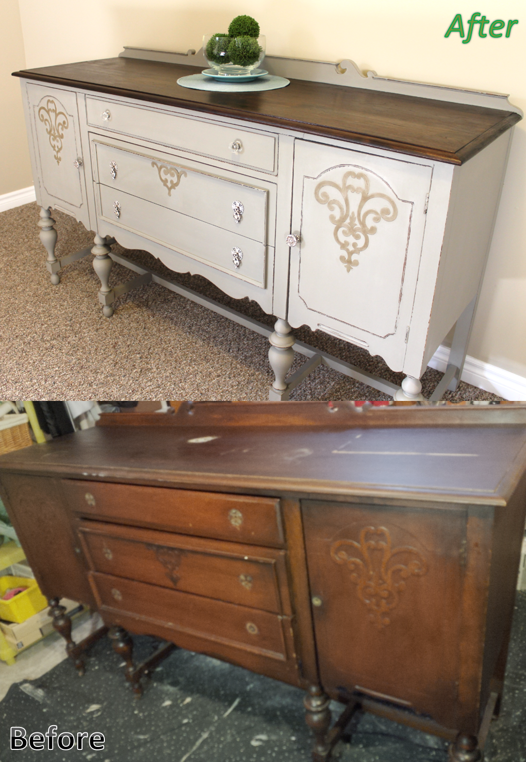Before And After Antique Solid Cherry Refinished Sideboard Buffet Annie Sloan Chalk Paint In F Cherry Wood Furniture Staining Furniture Wood Bedroom Decor