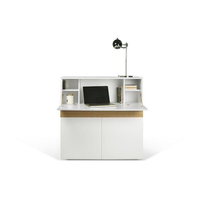 dieser computertisch in eleganter ausfhrung in wei mit regalen ist herunterklappbar und einfach ideal fr ein - Computertisch Fr Imac 27
