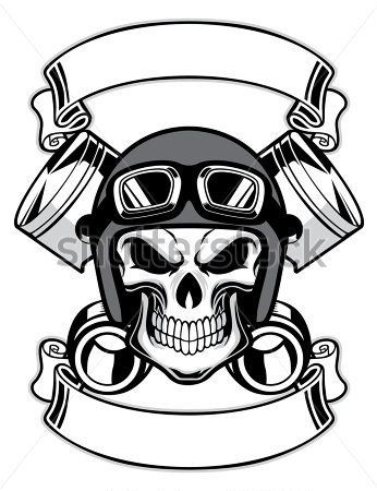 Skull Wearing Retro Motorbike Helmet Stock Vector Clipart Me