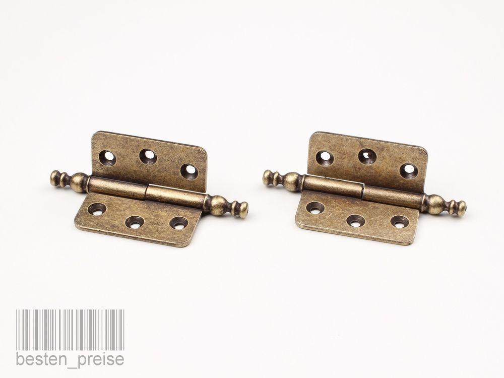 Altmessing 45x45mm Retro Antik Scharnier Schranktür mit Verzierung Link Recht