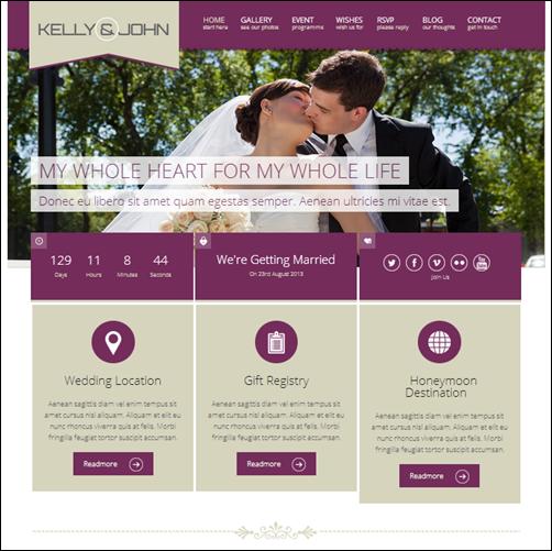 Wedding wordpress theme site. The Soul theme features an elegant ...