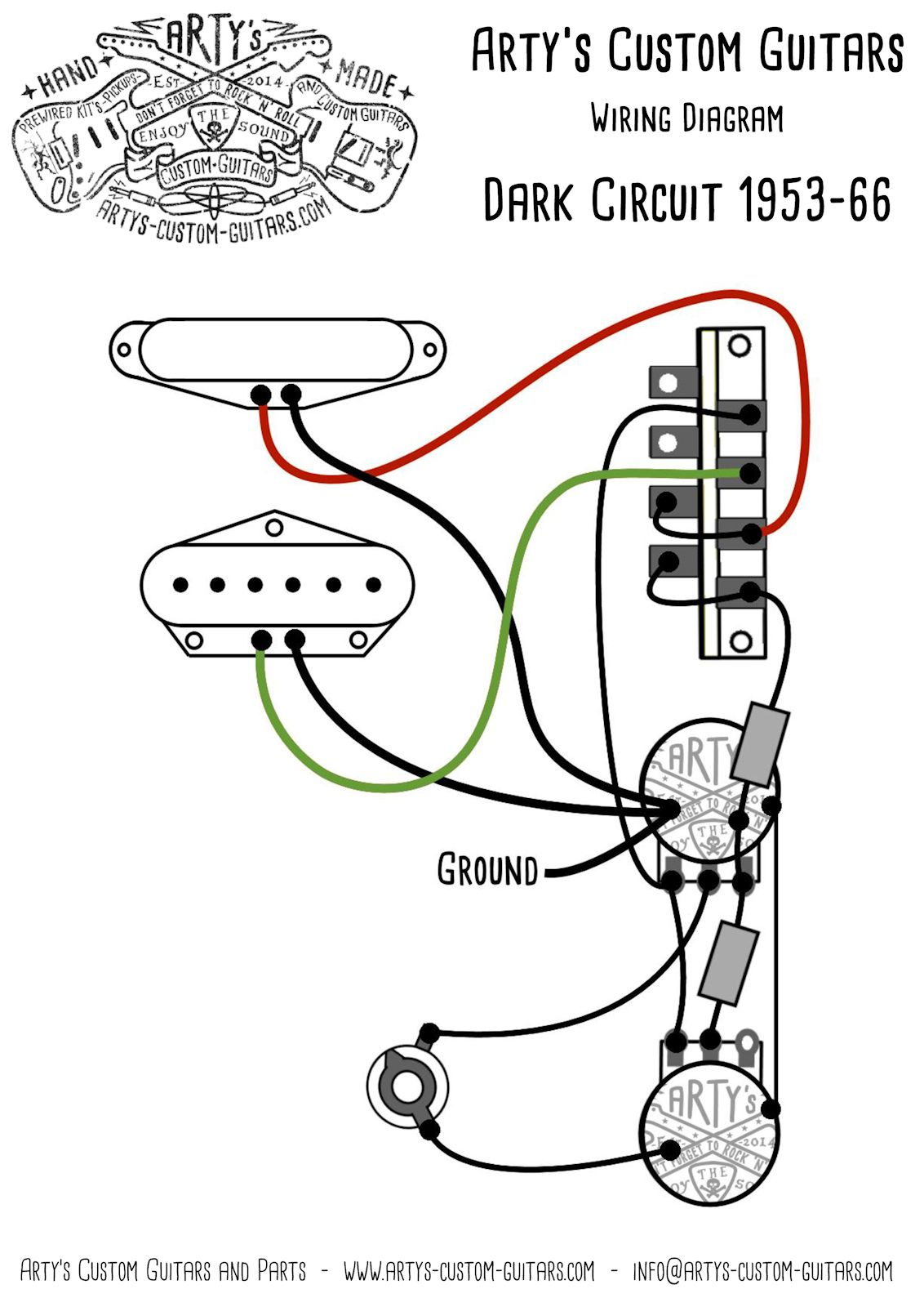 medium resolution of arty s custom guitars dark circuit blackguard 1953 vintage pre wired prewired kit wiring assembly harness