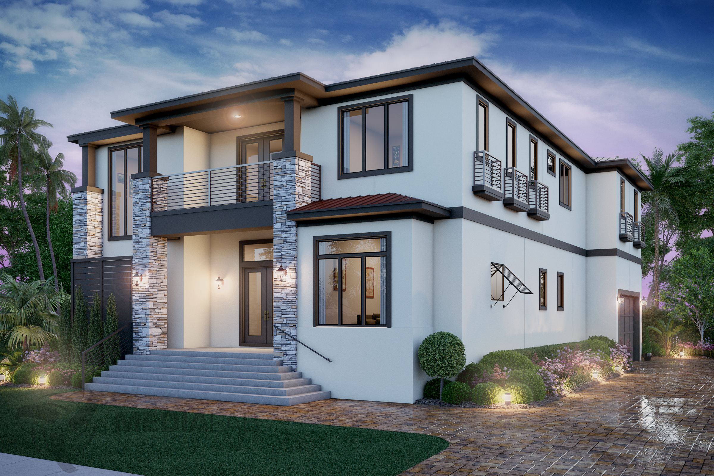Photorealistic 3d Render Of A Luxury Home Exterior In