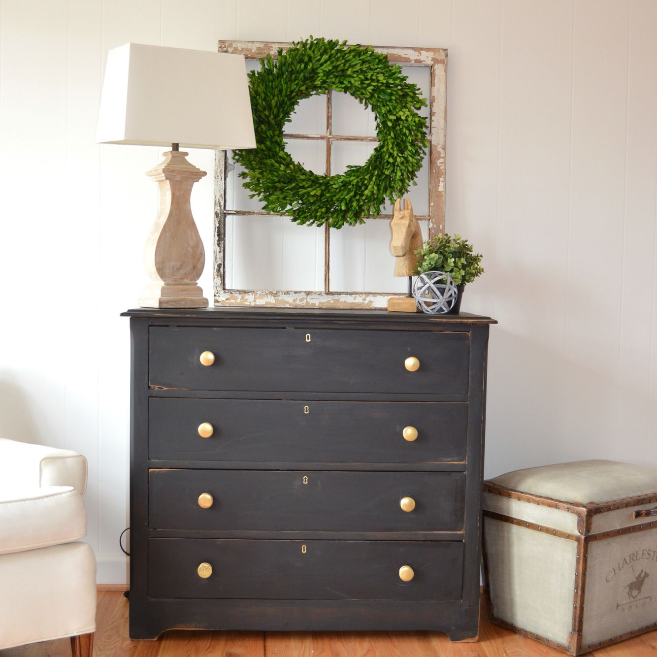 Classy black dresser. Milk paint painted dresser with gold
