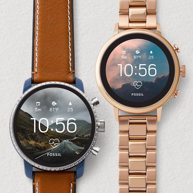 Gen 4 Smartwatch Venture Hr Rose Gold Tone Stainless Steel Mesh Ftw6031 Smart Watch Interchangeable Straps Tan Leather Strap