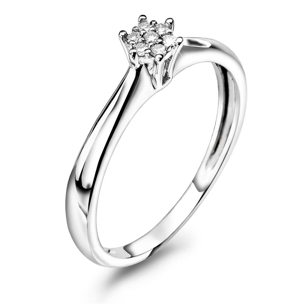 En budsjettvennlig frierring med mye diamant for pengene - Ring i gull med diamant 0,05 ct WSI, Veil. pris kr 2999 - Juvelen gullsmed