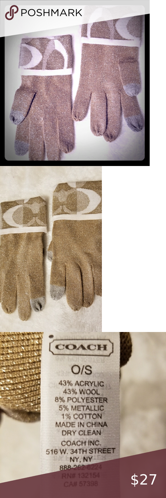 NWOT Coach one size womens gloves New, never used, very nice Coach gloves. Finge... - #coach #finge #gloves #never #nice #NWOT #Size #Womens