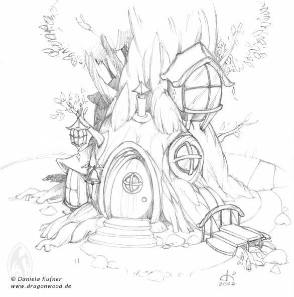 Printable Tree House Plans: Fairy Tree House Coloring Pages