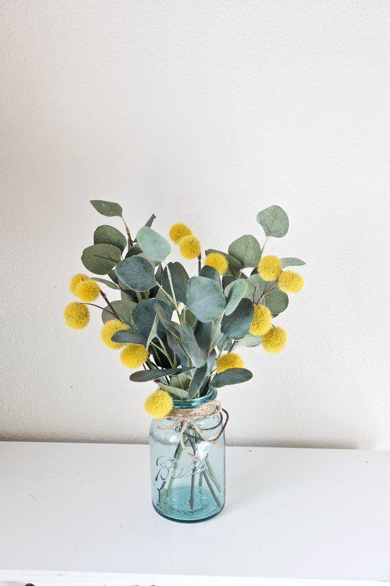 Décor de ferme, décor deucalyptus, pièce maîtresse de ferme, décoration de table, bocal