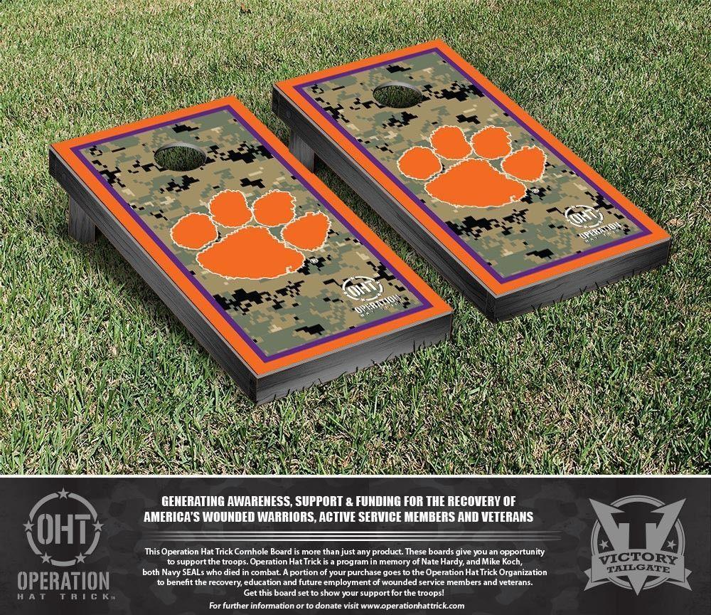 Clemson University Tigers Operation Hat Trick Military Cornhole Set