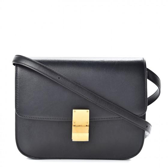 CELINE Box Calfskin Medium Classic Box Flap Black 506521