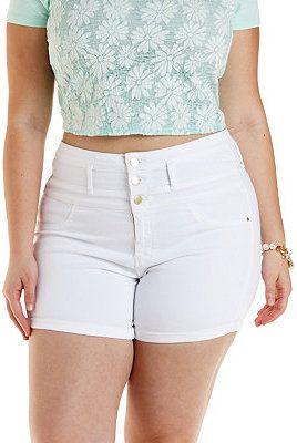 31e67324ec $13, White Denim Shorts: Charlotte Russe Plus Size Refuge Hi Waist Shortie Denim  Shorts