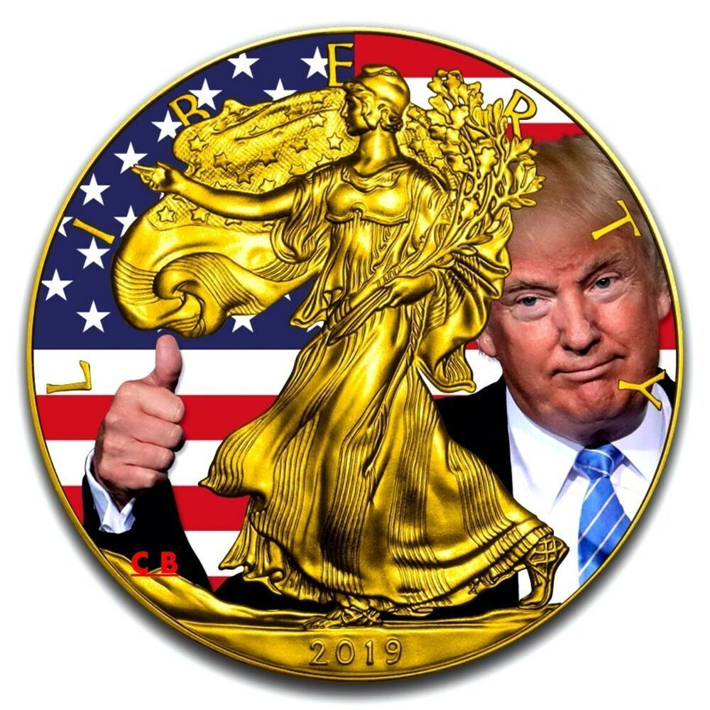 President Trump American Eagle 1 Oz Silver Coin 24k Gilded Usa 2019 Mintage 100 In 2020 Silver Coins American Silver Eagle Silver Eagle Coins