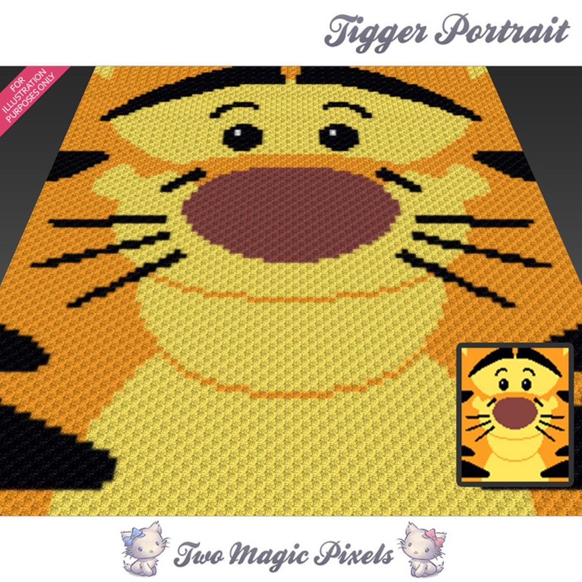 Tigger Portrait C2C Crochet Graph   Manta, Cobija y Tejido