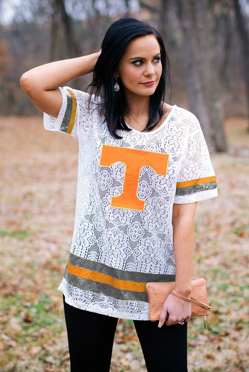 TENNESSEE CROCHET LACE OVERSIZED JERSEY | State clothes, Mississippi state, Gameday couture