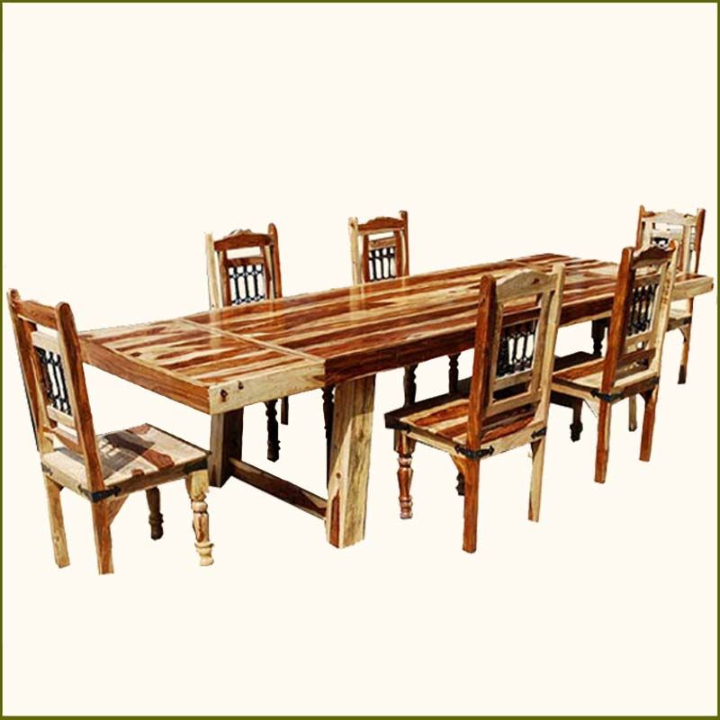 83d92d1e02aa Dallas Ranch Solid Wood 7pc Dining Room Table & Chair Set w Extensions