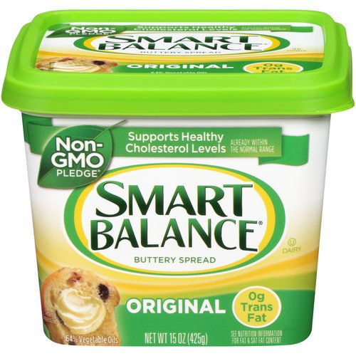 Smart Balance Original Buttery Spread, 15 oz (00033776011000) Smart Balance Original Buttery Spread: Supports healthy cholesterol levels Tastes like real butter 64% vegetable oil Excellent source of omega-3 and vitamins D, B6 and B12 0g trans fat Gluten free Gelatin free
