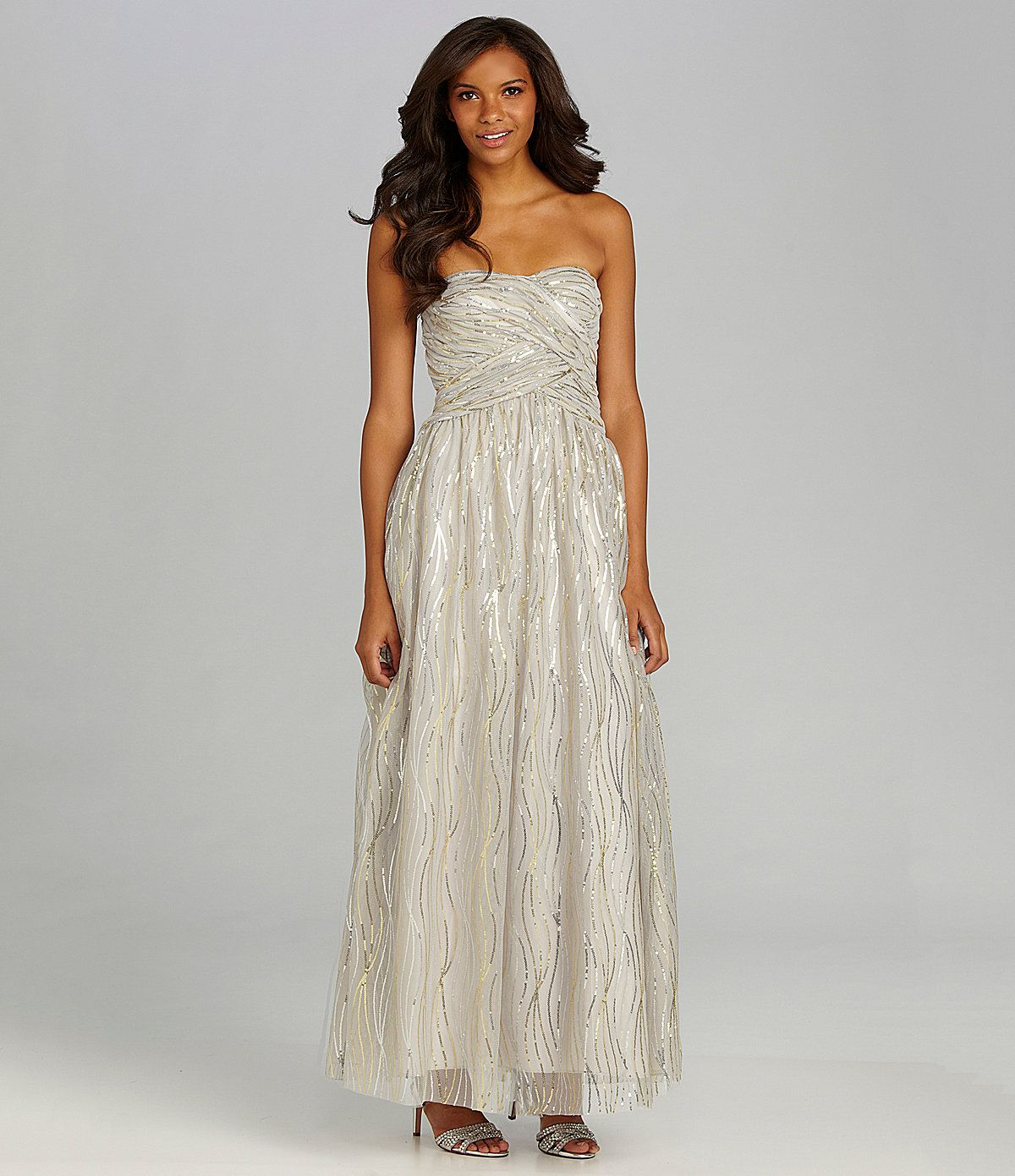 Hailey by adrianna papell strapless sequin gown dillards