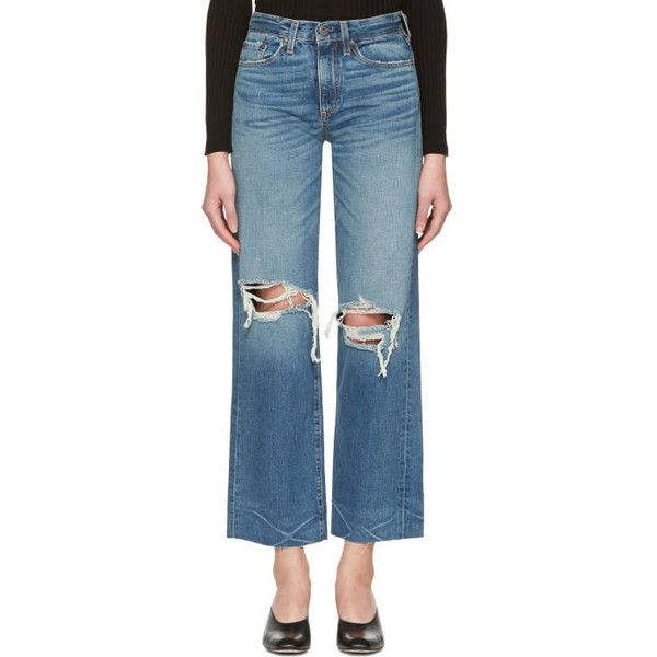 Simon Miller Indigo Basin Cropped Frayed Jeans (€325) ❤ liked on Polyvore featuring jeans, indigo, faded blue jeans, cuffed jeans, straight-leg jeans, frayed jeans and blue jeans