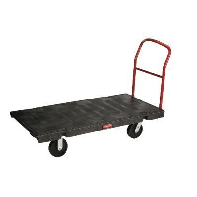 """Rubbermaid Commercial 4471 2000 lbs Mass Capacity, 60"""" Length x 30"""" Width, HDPE Black Heavy-Duty Platform Truck by Rubbermaid Commercial Products. $574.96. Retainer clips prevent unintended removal of the powder-coated steel handle. 2 fixed, 2 swivel casters for optimal control and maneuverability. High-density polyethylene (HDPE) material. Four casters, two swivel. Structural foam molding process. Measures 60"""" length by 30"""" width."""