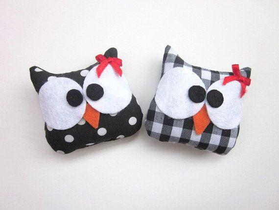 Plush Owl Ornament Set of 2 Mini Owls Plushes by ViajeraFelt, €9.00