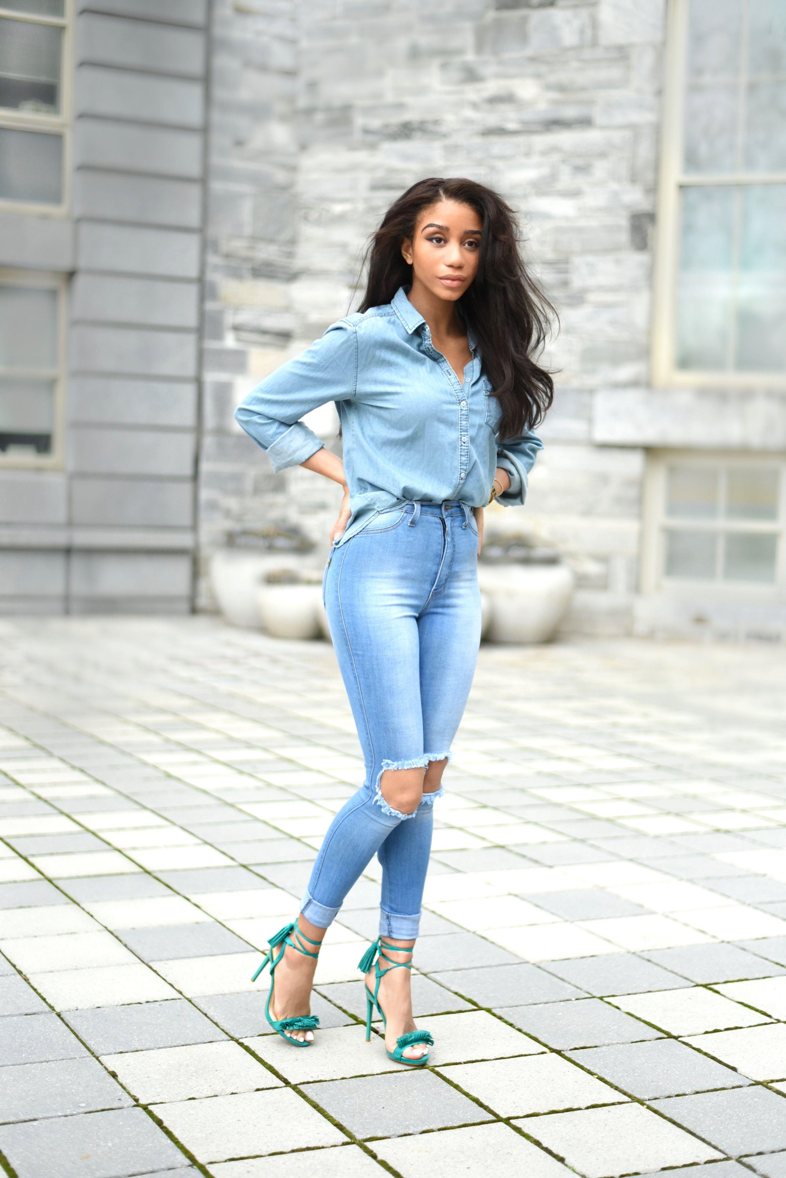 Briea Dior | Double Denim | woc fashion blogger | style ...