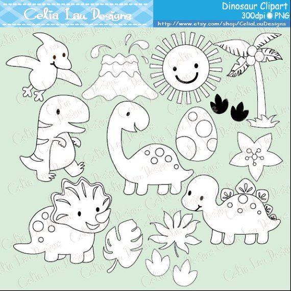 Dinosaur Digital Clipart / Cute Dinosaur Clip Art