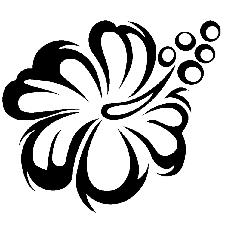 flower clipart black and white Stencils wall, Flower