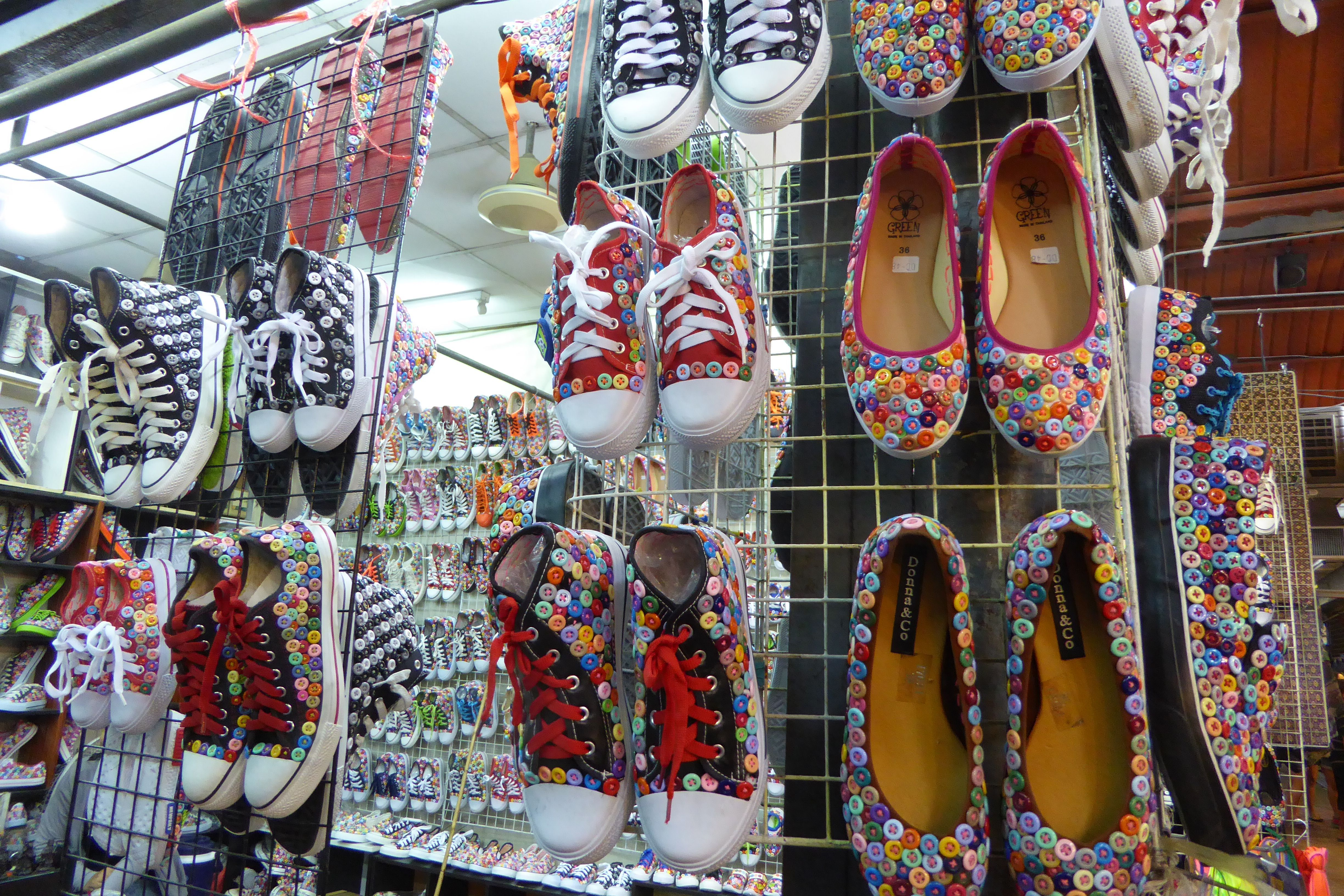 c46f588ef Shoes covered with buttons at the Chatuchak Weekend Market