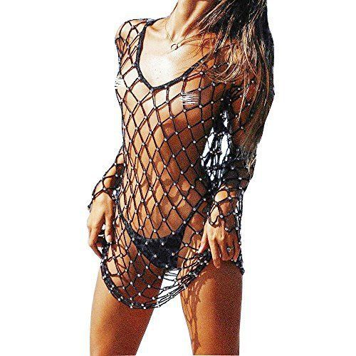 Godzgift Women s Hollow Fishnet Beach Dresses Bikini Cover Up Net ... bfbf05b09f6e