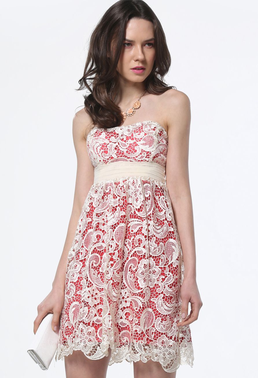 Apricot Strapless Hollow Embroidered Lace Dress | Fashion ...