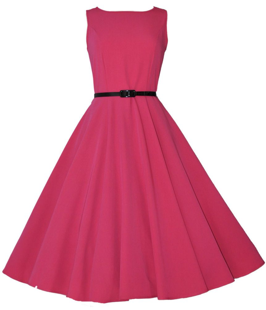 Vintage Classic Audrey 40\'s 50\'s Hepburn Pink Swing Jive Dress UK ...