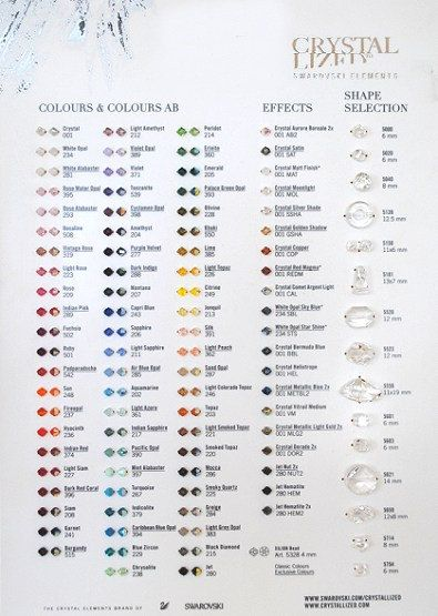 Official Swarovski Crystal Bead Color and Shape Chart with Sample - sample diamond chart