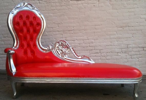 Shiny Red Vinyl Silver Leaf Wooded Frame French Chaise Lounge Sofa Vintage Hollywood Regency Glamor