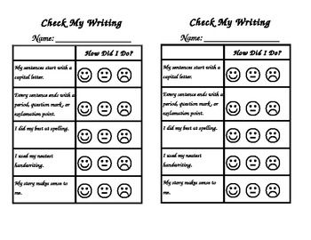 Freebie Student SelfCheck Writing Rubric  Teaching Tools By
