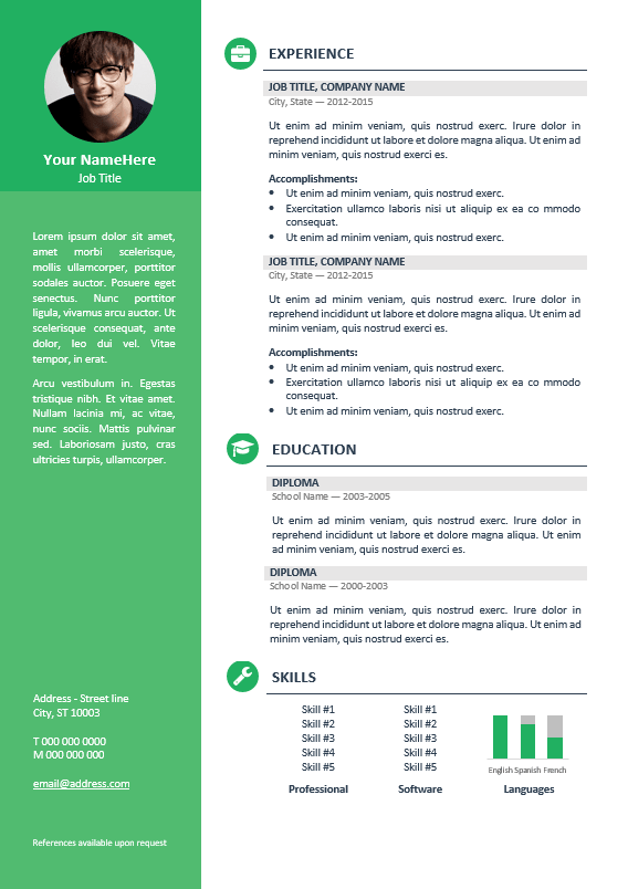 Resume With Picture Template Orienta  Free Professional Resume Cv Template  Green  Resume