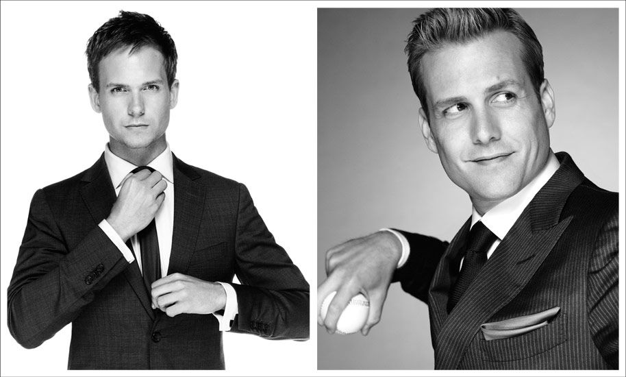 Patrick J. Adams and Gabriel Macht as Mike Ross and Harvey Specter (Nigel Parry - USA Network).