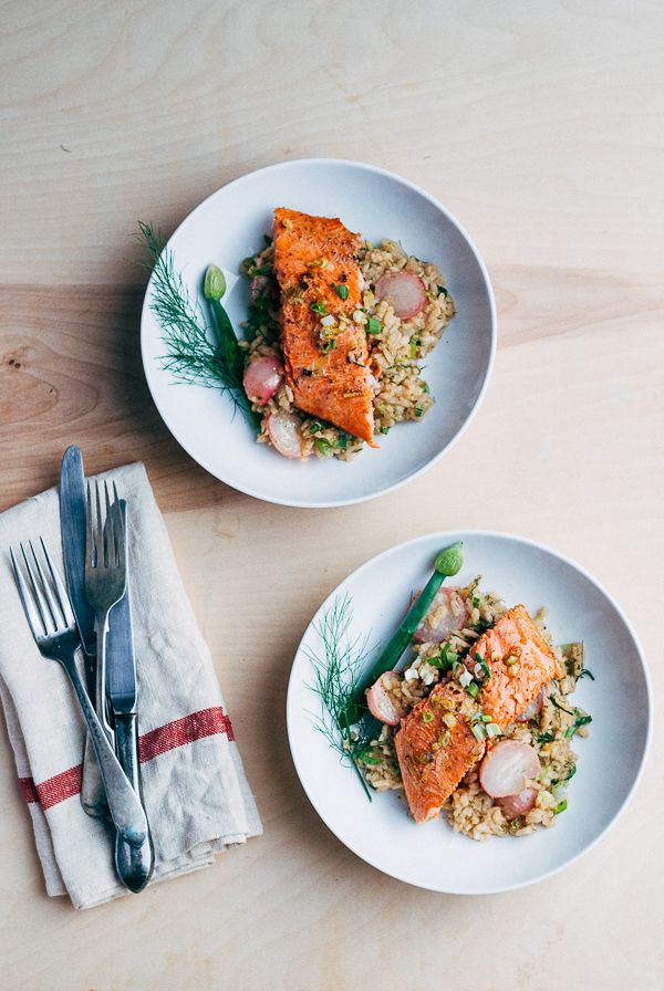 This recipe for broiled salmon with fennel and radish risotto from brooklyn supper makes great use of early Spring produce