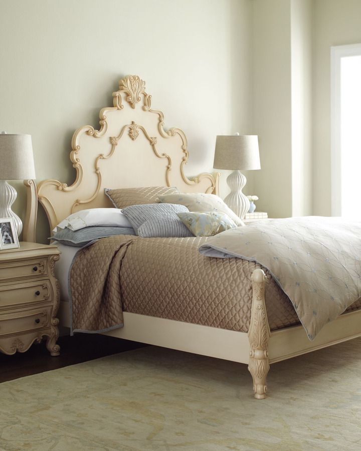 Ornate bedroom furniture with intricate curves, and detailed ...