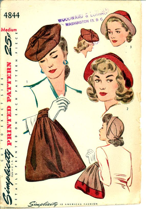 40s Hat Bag Simplicity 4844 Size Medium Handbag Purse Beret Pattern ...
