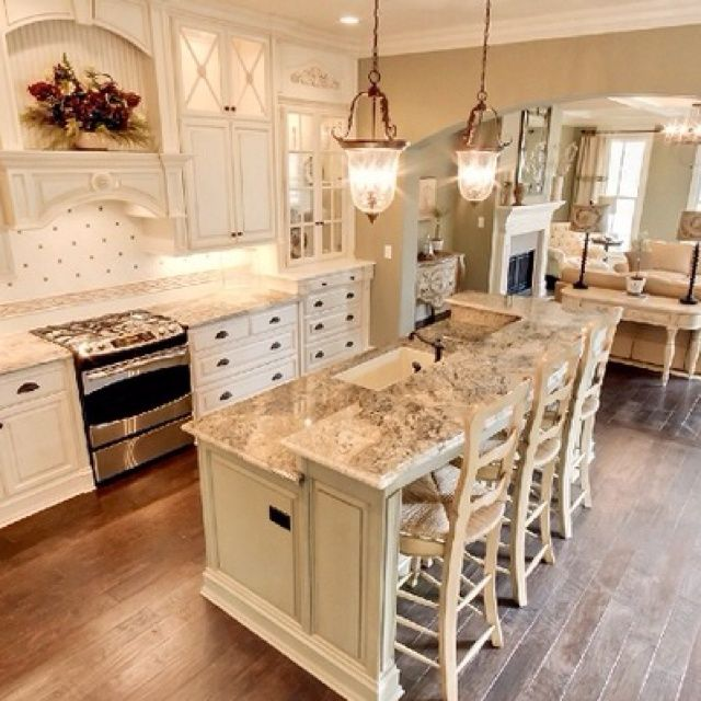 We Love This Double Island Kitchen Huge Open Kitchen: 2 Tiered Granite Kitchen Island With Sink